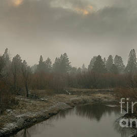 Upper Truckee River early spring storm sunset, El Dorado National Forest, California, U. S. A. by PROMedias