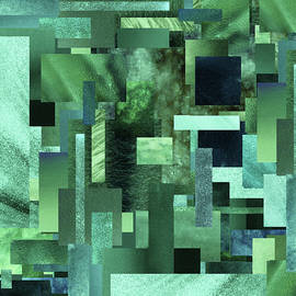 Urban Green Marble Geometrical Pattern Abstract Watercolor  by Irina Sztukowski