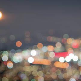 Urban Moon Portland Oregon Impressionistic Nighttime Cityscape by Nancy Jacobson