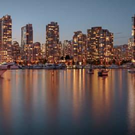 Vancouver Skyline at Dusk Panoramic by Adam Romanowicz