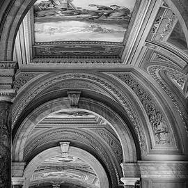 Vatican Arched Hallway in Black and White