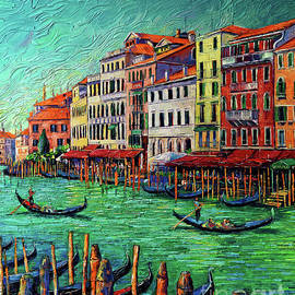 VENICE COLORFUL FACADES palette knife oil painting Mona Edulesco  by Mona Edulesco