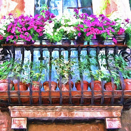 Venice Flower Balcony - Photopainting by Allen Beatty