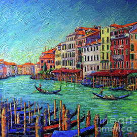 VENICE GRAND CANAL commissioned palette knife oil painting Mona Edulesco by Mona Edulesco