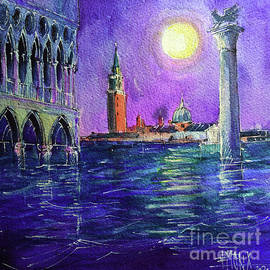 VENICE HIGH WATER NIGHT watercolor painting Mona Edulesco by Mona Edulesco
