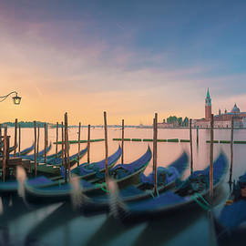 Venice lagoon, San Giorgio church and gondolas at sunrise. Italy by StevanZZ Photography