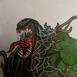Venomous hulk on paper in acrylics by John Jenkins