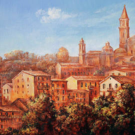 Ventimiglia. A study in burnt sienna by Leonid Polotsky
