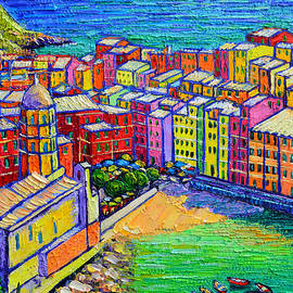 VERNAZZA COLORS Cinque Terre Italy palette knife oil commissioned painting detail Ana Maria Edulescu by Ana Maria Edulescu
