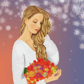 Veronika-the beautiful girl with flowers in hand by Akshat Goyal