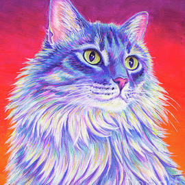 Vibrant Longhaired Gray Tabby Cat by Rebecca Wang