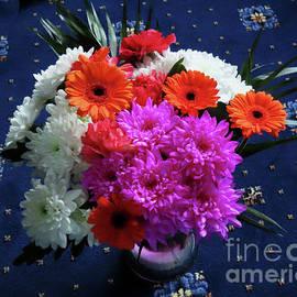 Vibrant Pink and Orange Flowers by Kathryn Jones