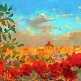 View at Foisorul de Foc,Bucharest, Romania painting on leather by Vali Irina Ciobanu by Vali Irina Ciobanu