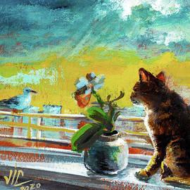 View from Costanta, Bengal cat and seagul painting by Vali Irina Ciobanu  by Vali Irina Ciobanu