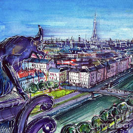 VIEW OF PARIS FROM NOTRE DAME TOWERS left panel watercolor painting Mona Edulesco by Mona Edulesco