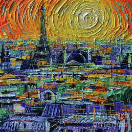 View of Paris from Pompidou - Textural Impressionist Stylized Cityscape Mona Edulesco by Mona Edulesco