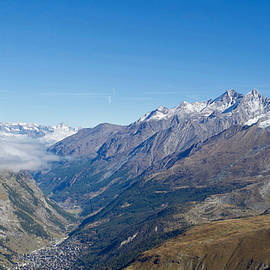 View of Zermatt from Trockener Steg, Visp,Valais,Switzerland. by Joe Vella