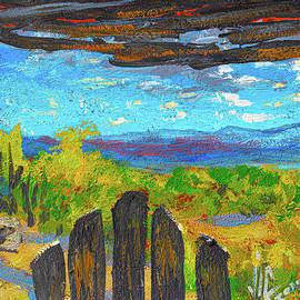View over the gate in Taos New Mexico painted on leather by Vali Irina Ciobanu by Vali Irina Ciobanu