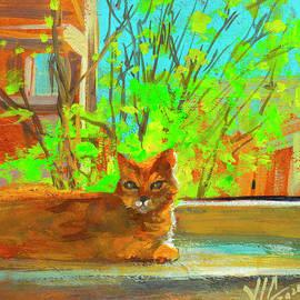 View with Cat Garfield  painted on vellum by Vali Irina Ciobanu by Vali Irina Ciobanu