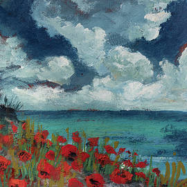 View with red poppies at Black Sea painting on leather by Vali Irina Ciobanu by Vali Irina Ciobanu
