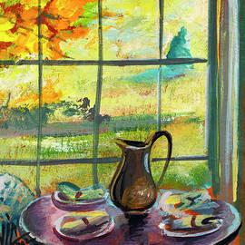 view with still life in Tennessee painting on vellum by Vali Irina Ciobanu by Vali Irina Ciobanu