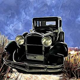 Vintage 1929 Hudson Motorcar On Beach Track by Joan Stratton