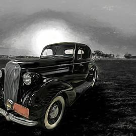 Vintage 1936 Buick Classic Motorcar Sunset Beach by Joan Stratton