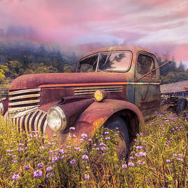 Vintage Chevy PIckup Truck in the Mountain Wildflowers at Sunris by Debra and Dave Vanderlaan