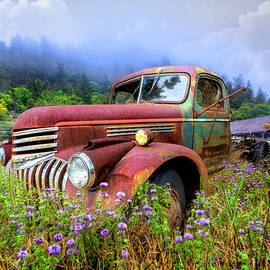 Vintage Chevy PIckup Truck in the Mountain Wildflowers by Debra and Dave Vanderlaan