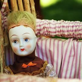 Vintage Doll in Crib by Elizabeth Pennington
