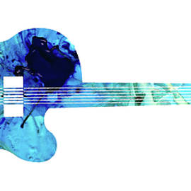 Vintage Guitar 2 - Colorful Abstract Musical Instrument by Sharon Cummings