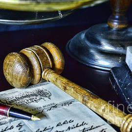 Vintage lawyer letter and gavel by Paul Ward