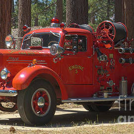 vintage Mack fire engine in El Dorado National Forest by PROMedias