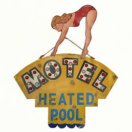 Vintage Motel Sign With Swimmer by Deborah League
