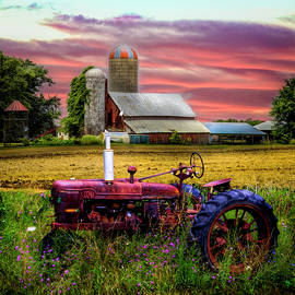 Vintage Red Tractor at the Country Farm by Debra and Dave Vanderlaan