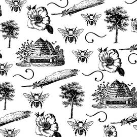 Vintage Summer Black and White Pattern by Queen City Craftworks