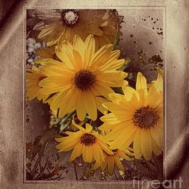 Vintage Sunflowers by Luther Fine Art