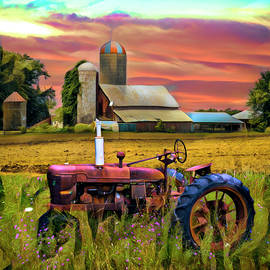 Vintage Tractor at the Country Farm Painting by Debra and Dave Vanderlaan