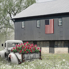 Vintage Truck at a Patriotic Barn by Lori Deiter