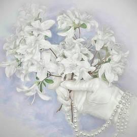 Vintage White Azaleas  by Rebecca Finley