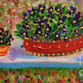 Violets on a Bench by Dave Cotton