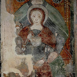 Virgin Mary and Christ Child, with St Anne, mother of Mary - 1300s fresco, Lombardy, Italy by Terence Kerr
