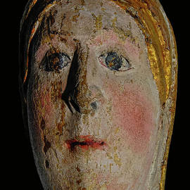 Virgin Mary with golden hair and wide blue eyes - 12th century wooden polychrome statue, France by Terence Kerr