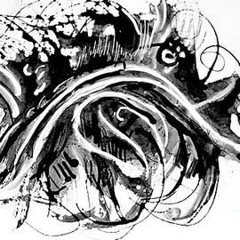 Virus Bug- abstract black white by Patty Donoghue