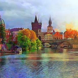 Vitava River and Charles Bridge by Jerzy Czyz