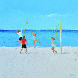 Volleyball beach painting by Jan Matson