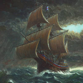 Voyage of the Mayflower in rough seas