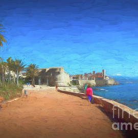 Walk Along The Sea in Antibes, France ,Painterly by Liesl Walsh