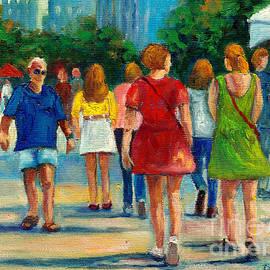 Montreal Summer Scene Painting Girls Walking Along Sidewalk Sale City Scene Art Grace Venditti  by Grace Venditti