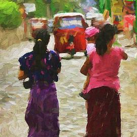 Walking down the street in Panajachel Guatemala #2 - Painting by Tatiana Travelways